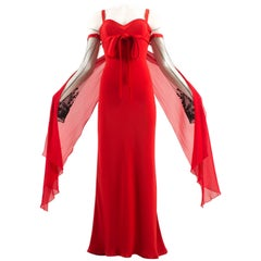 Valentino Autumn-Winter 2005 red evening dress with embellished sleeves