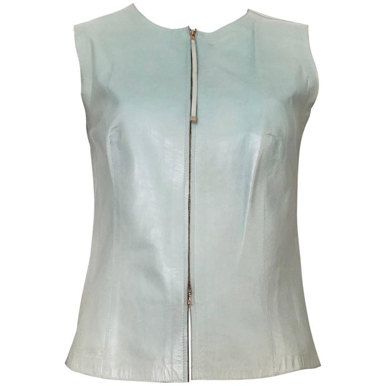 Gucci by Tom Ford 1990s Leather Aqua Vest, Size 4.