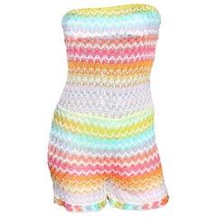 Missoni Bandeau Strapless Crochet Knit Jumpsuit Playsuit Romper Overall