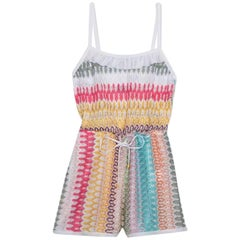 Missoni Ruched Crochet Knit Playsuit Romper Mini Jumpsuit Overall