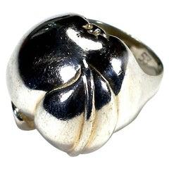 RARE Hermès Vintage Silver Apple Ring Size 53