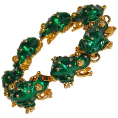 "Kenneth Jay Lane ""Limited Edition"" Green Enamel Multi-Frogs Link Bracelet"