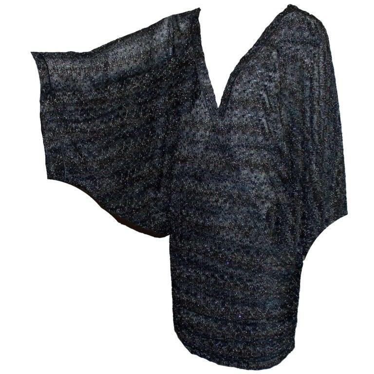 missoni midnight blue lurex kaftan mini dress for sale at 1stdibs. Black Bedroom Furniture Sets. Home Design Ideas