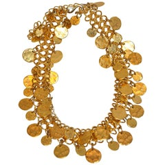 Kenneth Jay Lane Gilded Hammered Gold Multi-Disc Chain-Link Necklace