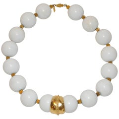 Kenneth Jay Lane Huge White with Hammered Gold Vermeil Necklace
