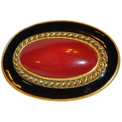 Yves Saint Laurent Large Deep Amber Hue pour glass & Black Enamel Brooch