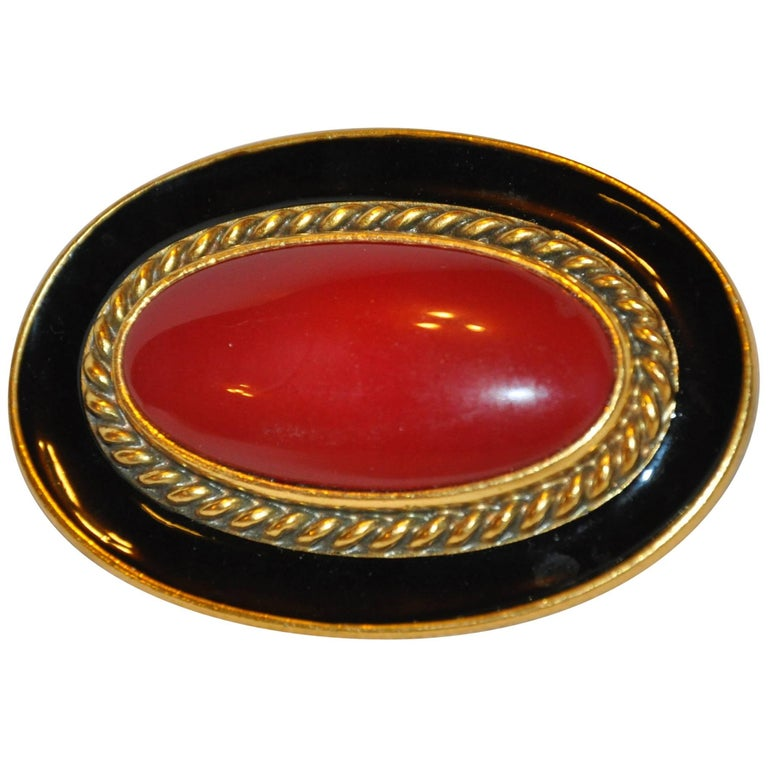 0ab81d88704 Yves Saint Laurent Large Deep Amber Hue pour glass & Black Enamel Brooch  For Sale