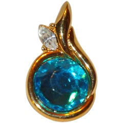 Kenneth Jay Lane Faux Turquoise with Diamond Pendant