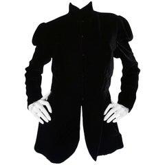 c1975 Thea Porter Couture Black Silk Velvet 'Chazara' Jacket
