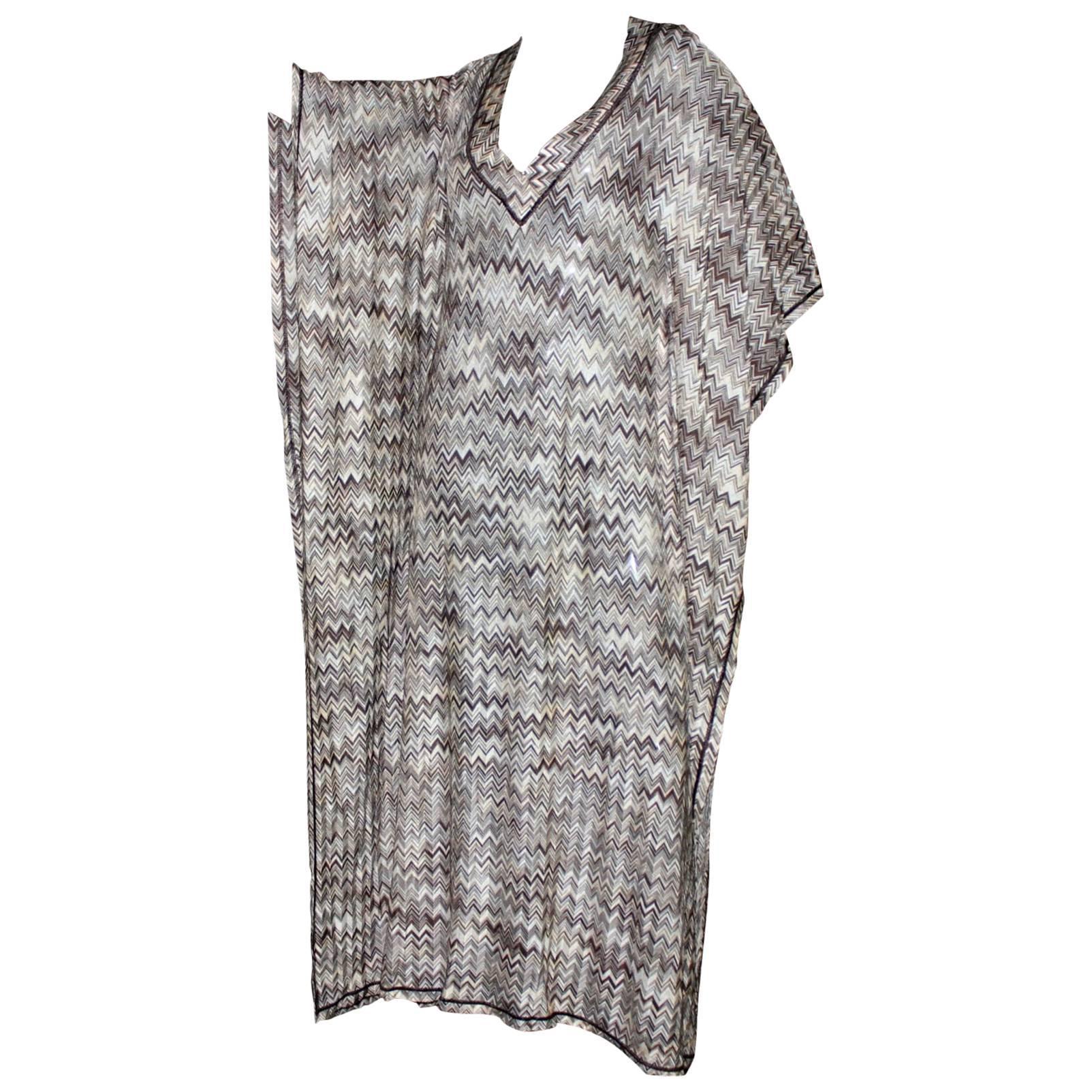 Stunning Missoni Signature Chevron Crochet Knit Maxi Kaftan Dress Bikini  Set For Sale