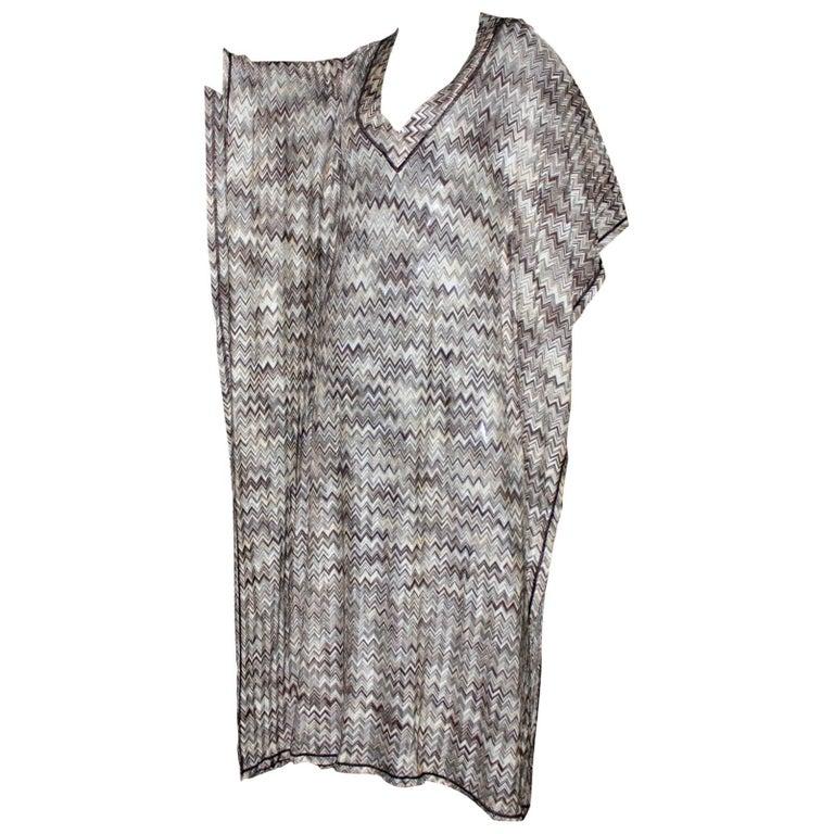 Stunning Missoni Signature Chevron Crochet Knit Maxi Kaftan Dress Bikini Set