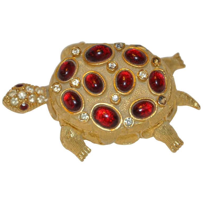 "Gilded Gold Vermeil ""Turtle"" with Faux Rubies & Diamonds Pill Box"