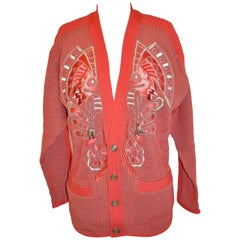 Kansai Yamamoto Multi-Textured & Multi-Color Embroidered Wool Cardigan