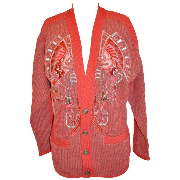 Kansai Yamamoto Multi-Textured & Multi-Color Embroidered Wool Cardigan