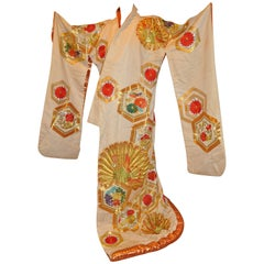 "Japanese ""Peacocks In Full Bloom"" Magnificent Silk Ceremonial Kimono"