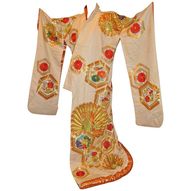 "Japanese ""Peacocks In Full Bloom"" Magnificent Silk Ceremonial Kimono"