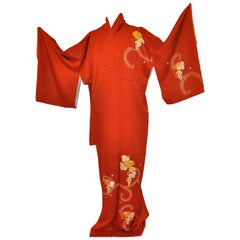 "Japanese Burnt Orange Floral Silk ""Grape Leaves & Grapes"" Kimono"