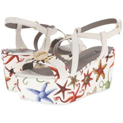 c742d16ed5b6 New Versace Sea Stars Print White Leather Textile Wedge Sandals It.39 - US 9