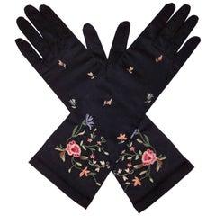 Elegant 1950's Black Satin Embroidered Evening Gloves
