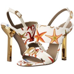 New Versace Sea Stars White Leather Textile Medusa Gold Heel Sandals It 36 US 6