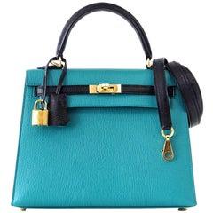 Hermes Kelly 25 Sellier Bag Horseshoe Blue Paon / Black Chevre Mysore Gold