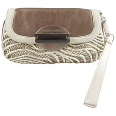 Alberta Ferretti Ivory and Bronze Beaded Clutch