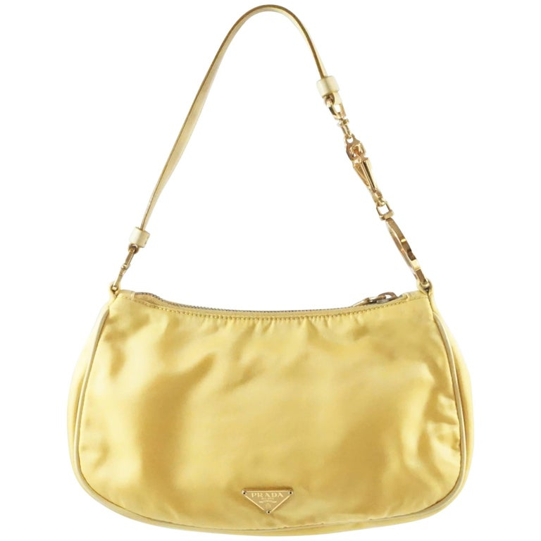 Prada Yellow Nylon and Leather Baguette For Sale at 1stdibs 1ac3b44525