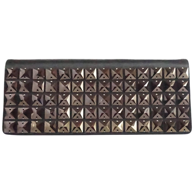 Stuart Weitzman Black and Brown Stone Clutch and Bag