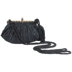 Revivals Black Satin Crossbody Bag with Tassels - 1990s