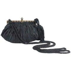 Revivals Black Satin Crossbody Bag with Tassels - 1990s