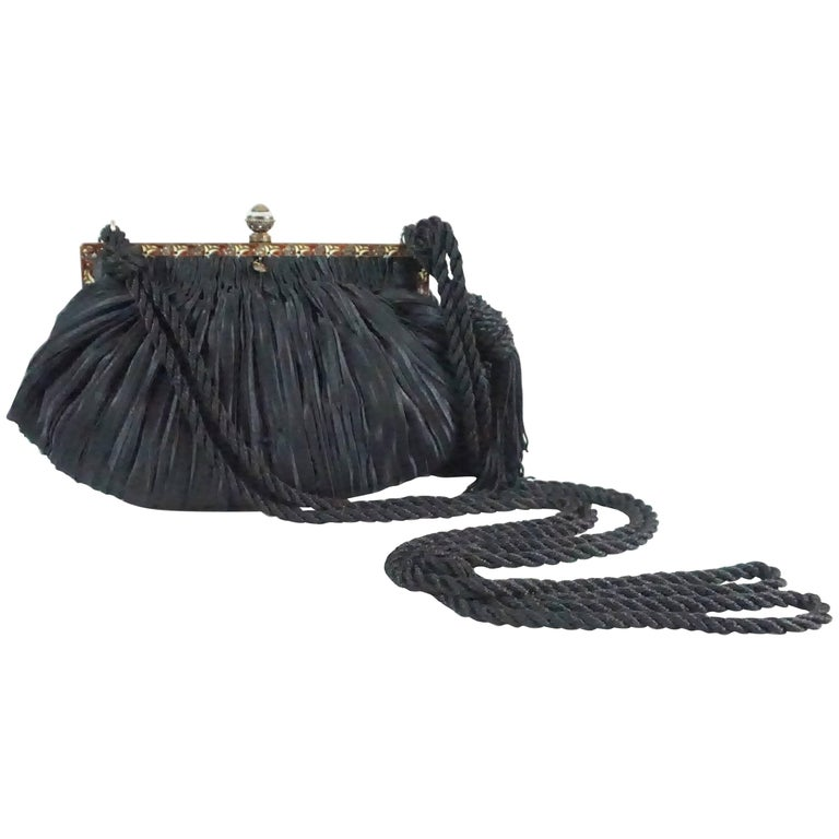 Revivals Black Satin Crossbody Bag with Tassels - 1990s  For Sale