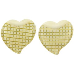 French 1960s Lucite Oversized Heart Clip on Earrings Off-White & Gilt Color