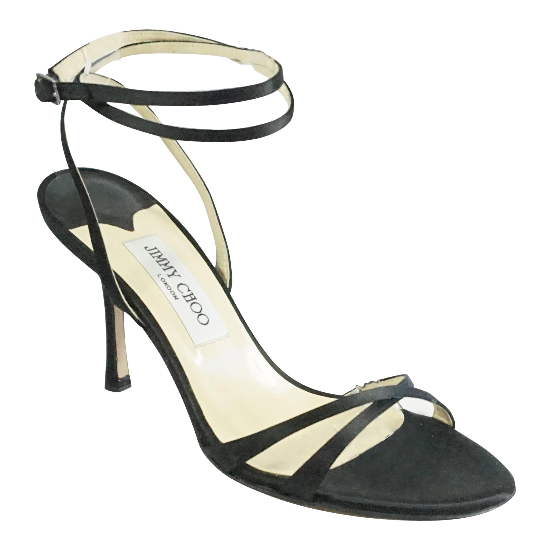 Jimmy Choo Black Satin Strappy Heels
