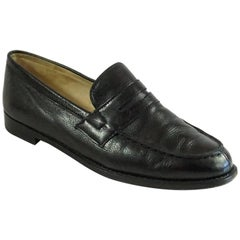 Manolo Blahnik Black Leather Penny Loafers -37.5