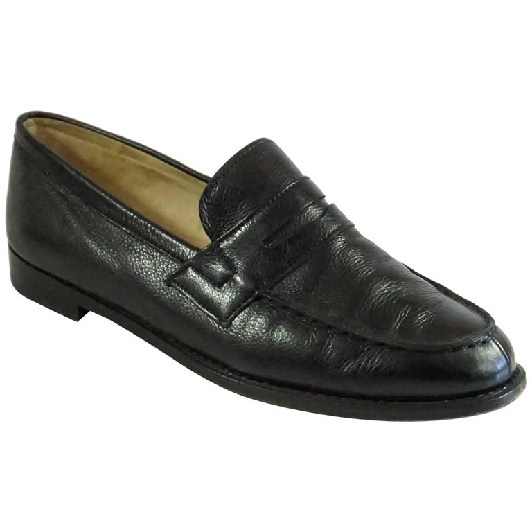 Manolo Blahnik Black Leather Penny Loafers -37.5 For Sale ...