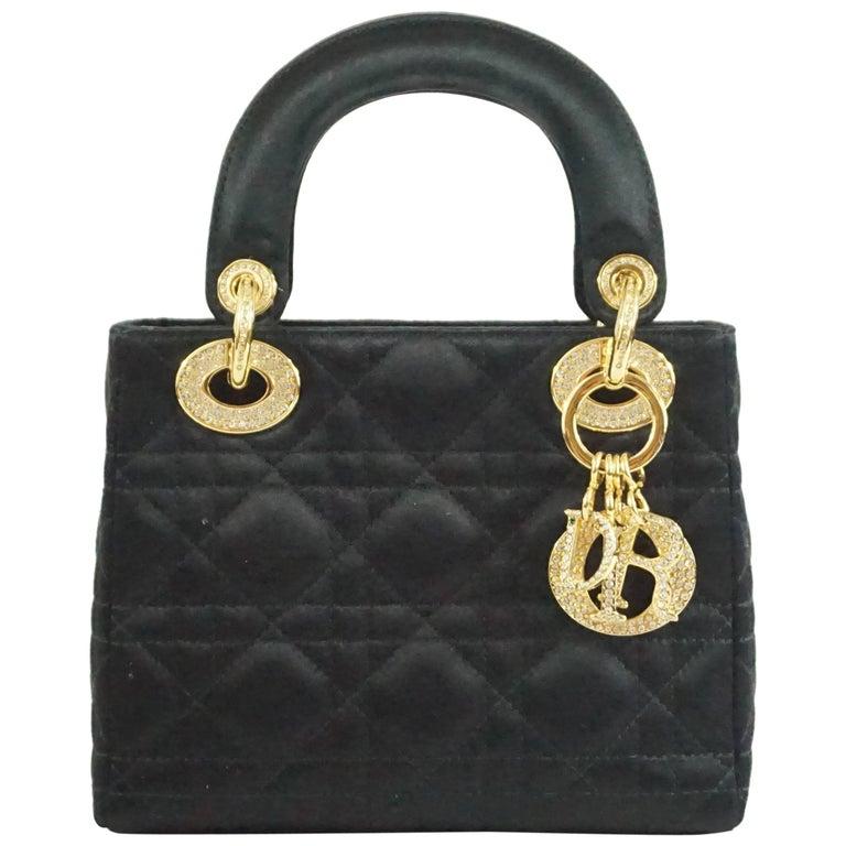 Christian Dior Black Satin Mini Strass Lady Dior Bag with Rhinestones 1