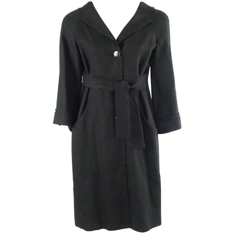 Gucci Black Light Wool 3/4 Coat Dress - 42 - NWT For Sale
