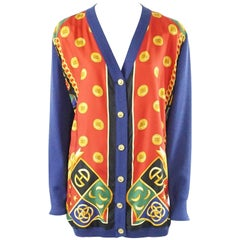 Celine Blue and Multi Print Silk Knit Cardigan - 46