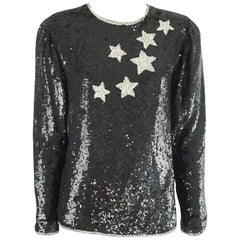 Oscar de la Renta Black Stars Sequin and Bead Top - 6 - 1970s