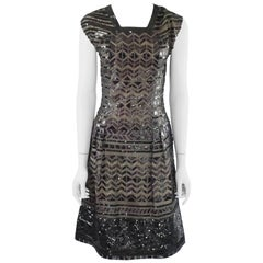 Oscar de la Renta Black and Brown Sequin and Leather Applique Dress - M