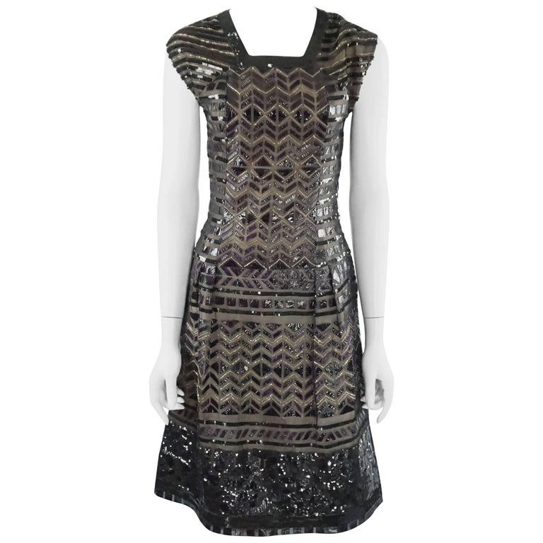 Oscar de la Renta Black and Brown Sequin and Leather Applique Dress - M For Sale