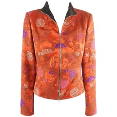 Kenzo Red and Metallic Asian Print Jacket with red silk pants - 44