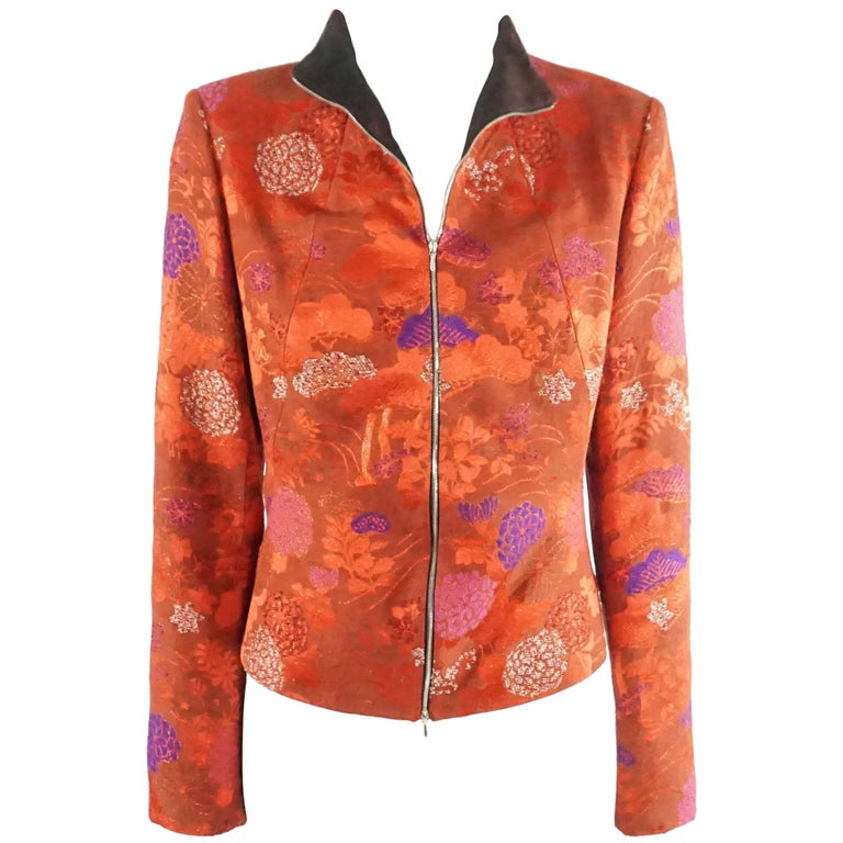 a80743f6 Kenzo Red and Metallic Asian Print Jacket with red silk pants - 44