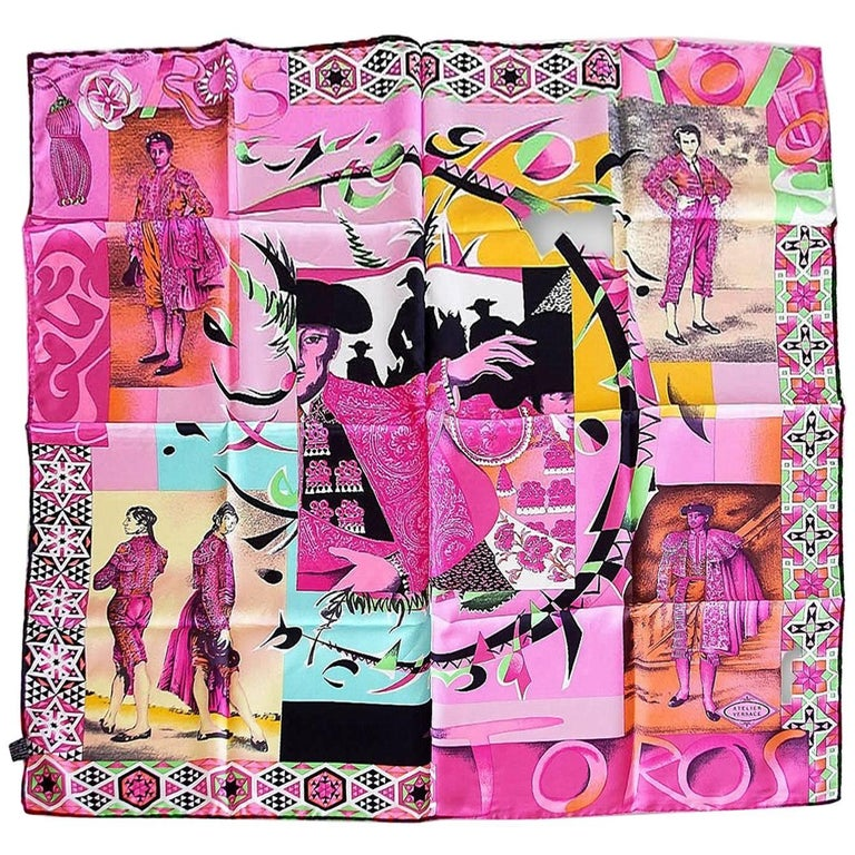 Gianni Versace Atelier Exquisite Vintage Scarf Toros Silk Only 5 Made
