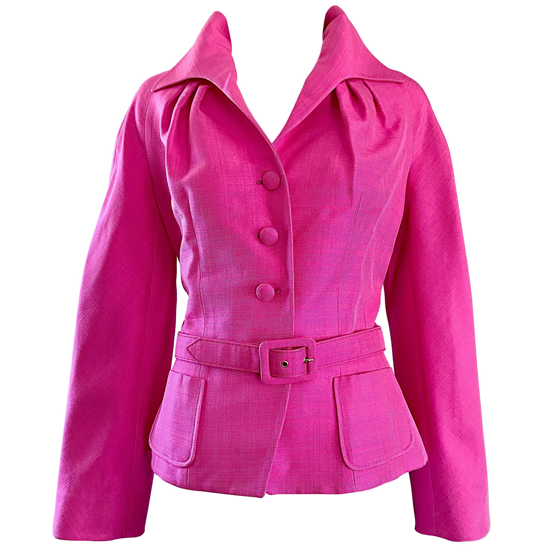 Christian Dior by John Galliano Size 10 Bubblegum Pink Silk Blend Belted Jacket