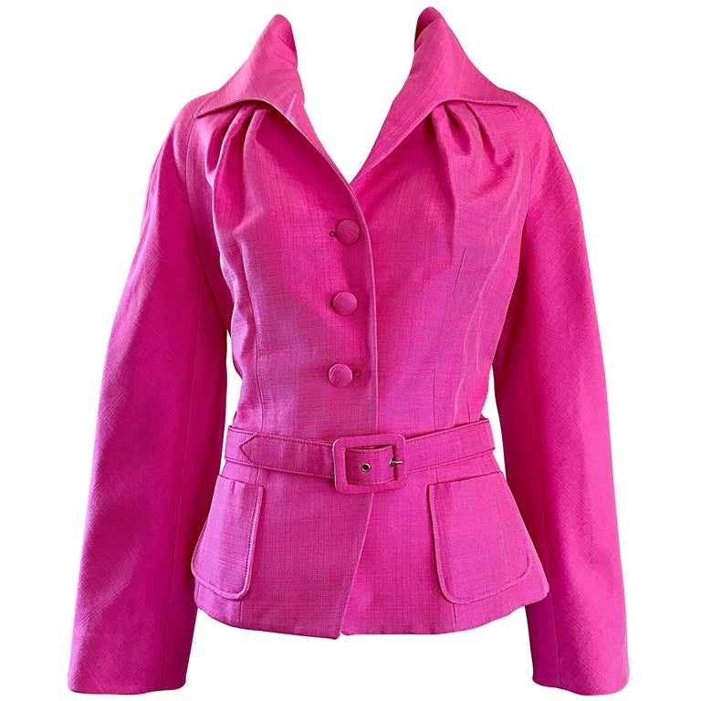 Christian Dior von John Galliano Bubblegum Rosa Seiden Größe 10 Jacke mit Gürtel 1