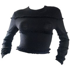 Early Gianni Versace 1980s Sexy Black Fringe 80s Vintage Cotton Sweater Crop Top