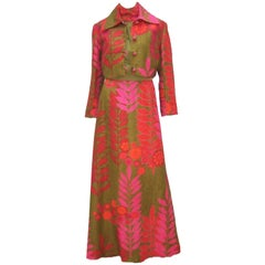 Mod & Vibrant C.1970 Linen Two Piece Maxi Dress & Jacket Ensemble