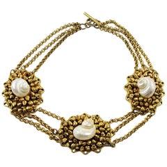 French Designer Chantal Thomass Paris Signed SeaShell Choker Necklace