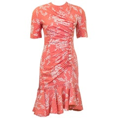 1990's Haute Couture Coral Silk Jacquard Dress Carroll Petrie Col.